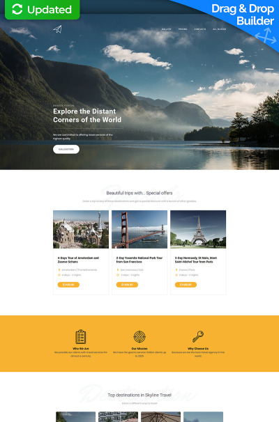 Skyline - Travel Agency MotoCMS 3 Templates de Landing Page  №66367 #66367