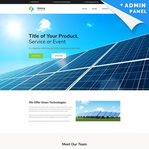 Solar Energy MotoCMS 3 - Landing Page Template based on Bootstrap
