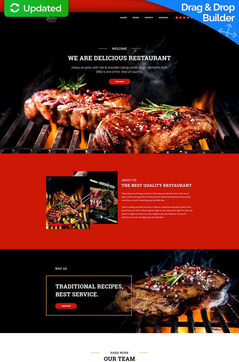 Steakon - BBQ Restaurant MotoCMS 3 Landing Page Template