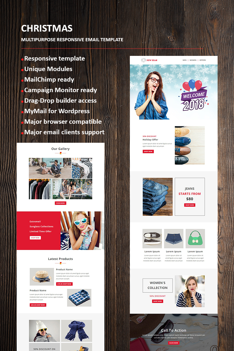 """Tema di Newsletter Responsive #66336 """"New Year Email"""""""