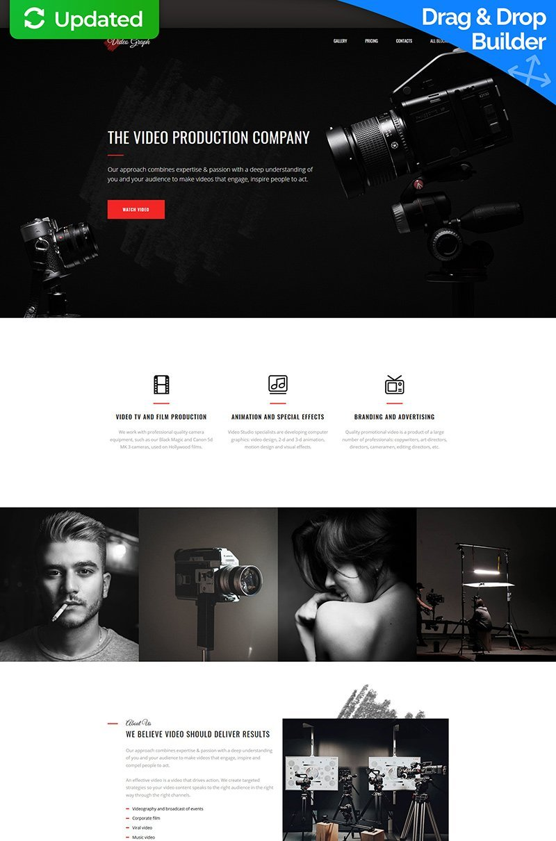 Videographer MotoCMS 3 Landing Page Template