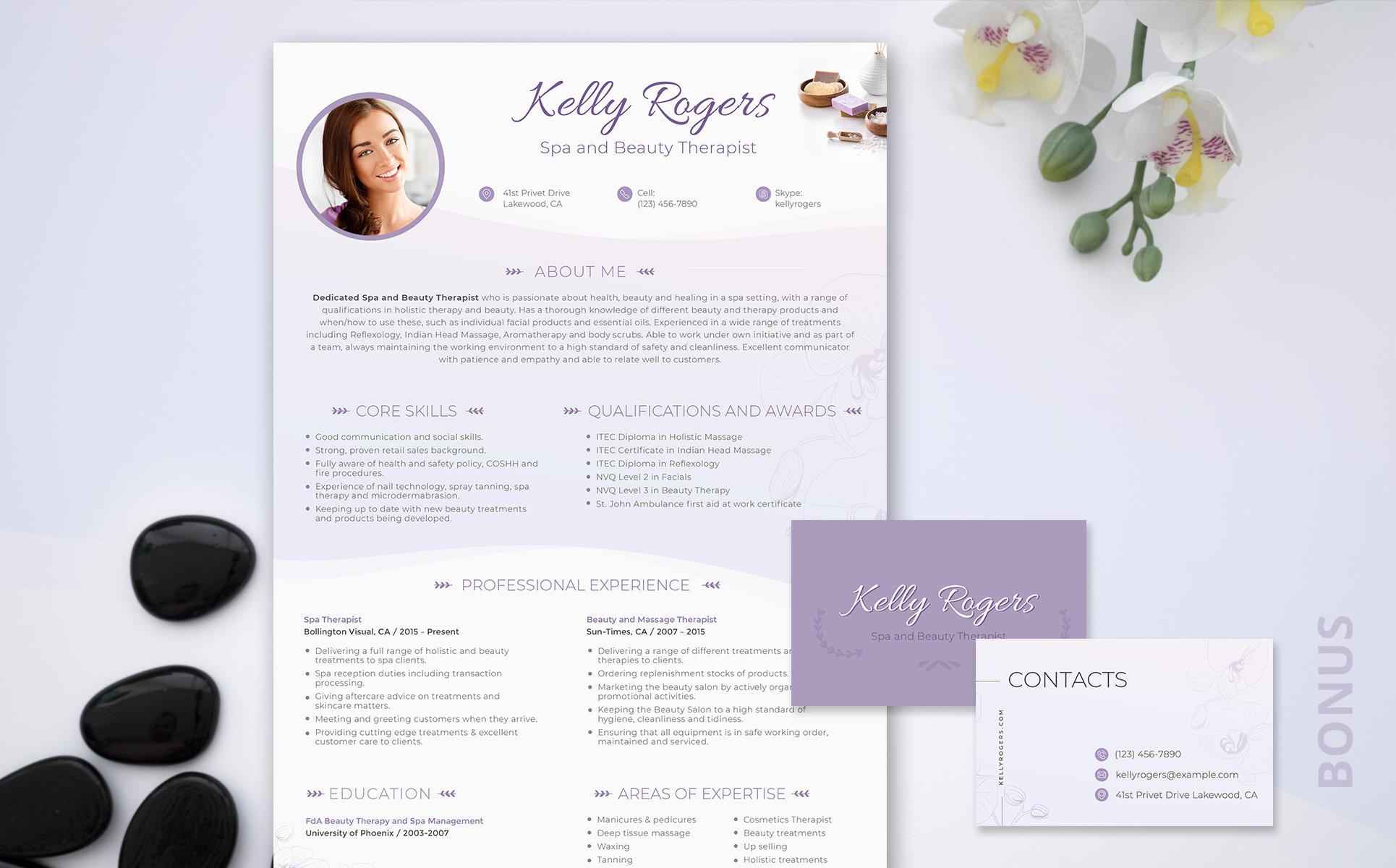 Kelly Ragers - Spa and Beauty Therapist Resume Template #66434