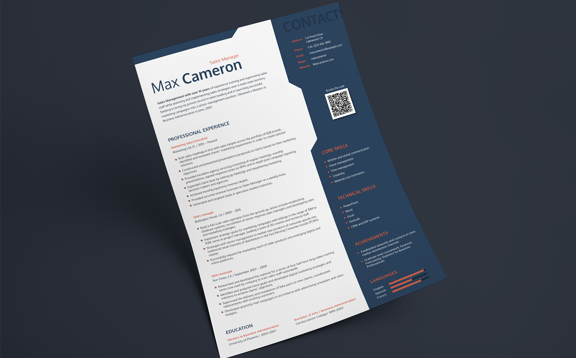 Max Cameron  Sales Manager Resume Template