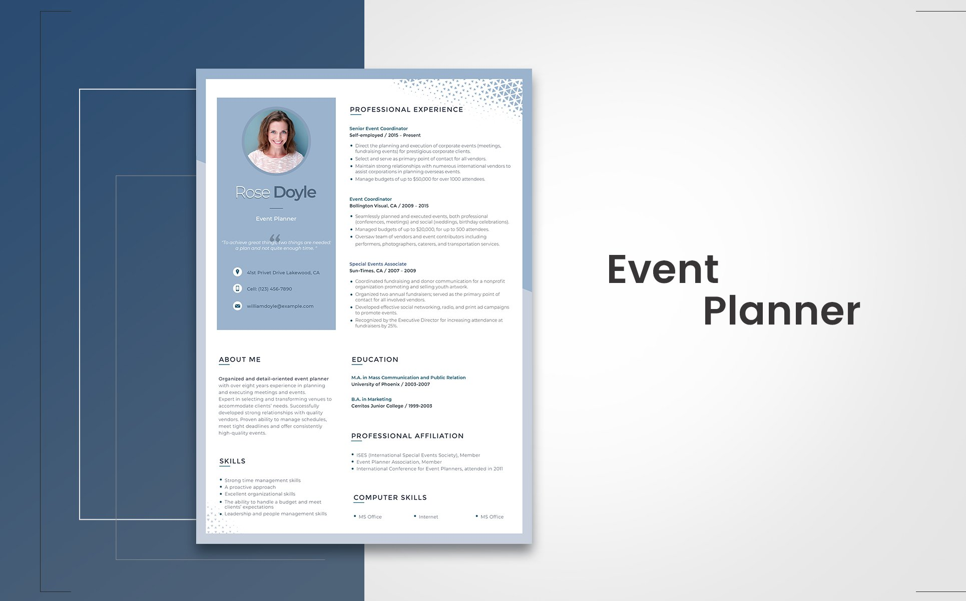 Rose Doyle   Event Manager Resume Template Big Screenshot  Point Of Contact Template