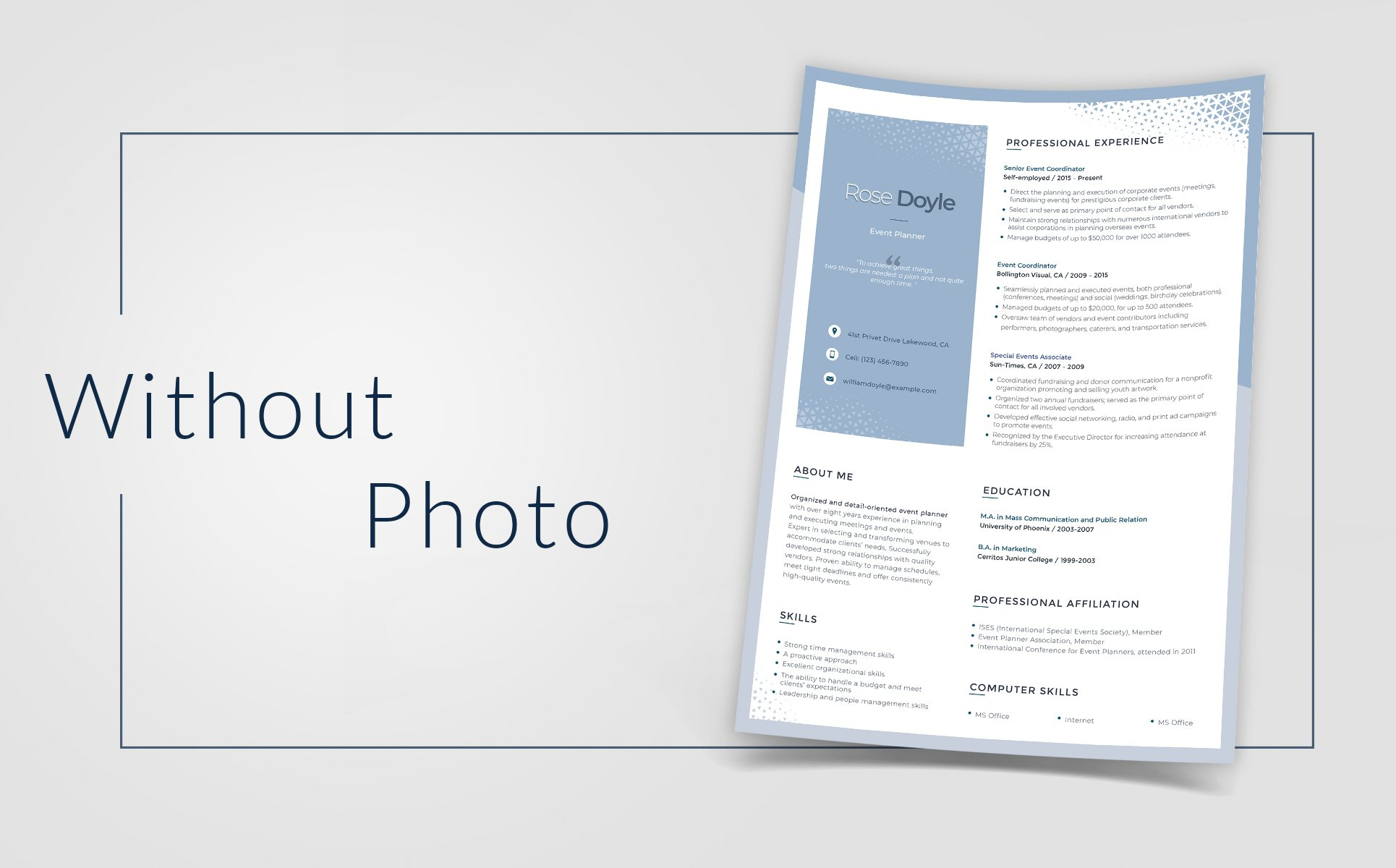 Rose Doyle Event Manager Resume Template 66440