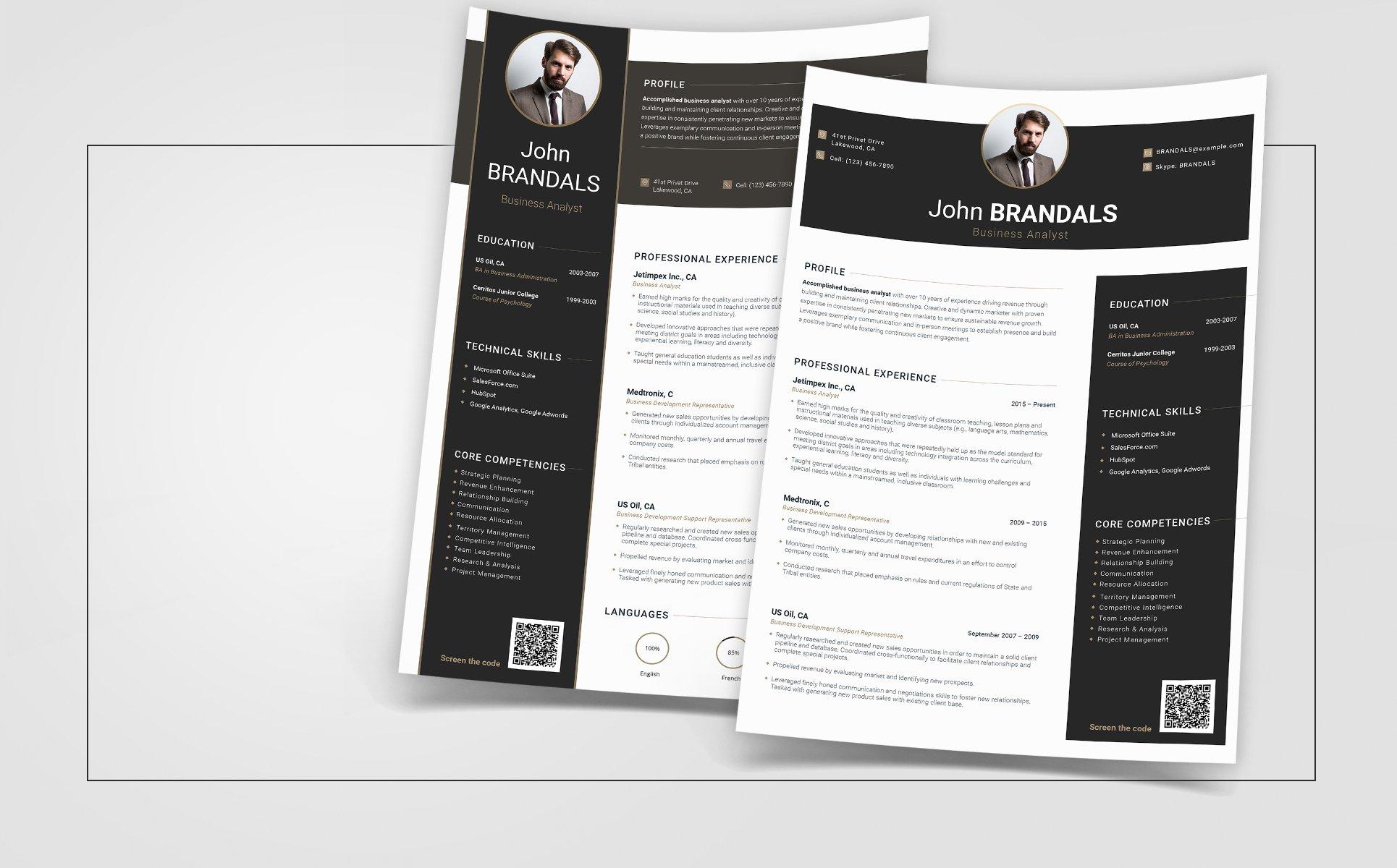John Brandals - Business Analyst Resume Template #66444