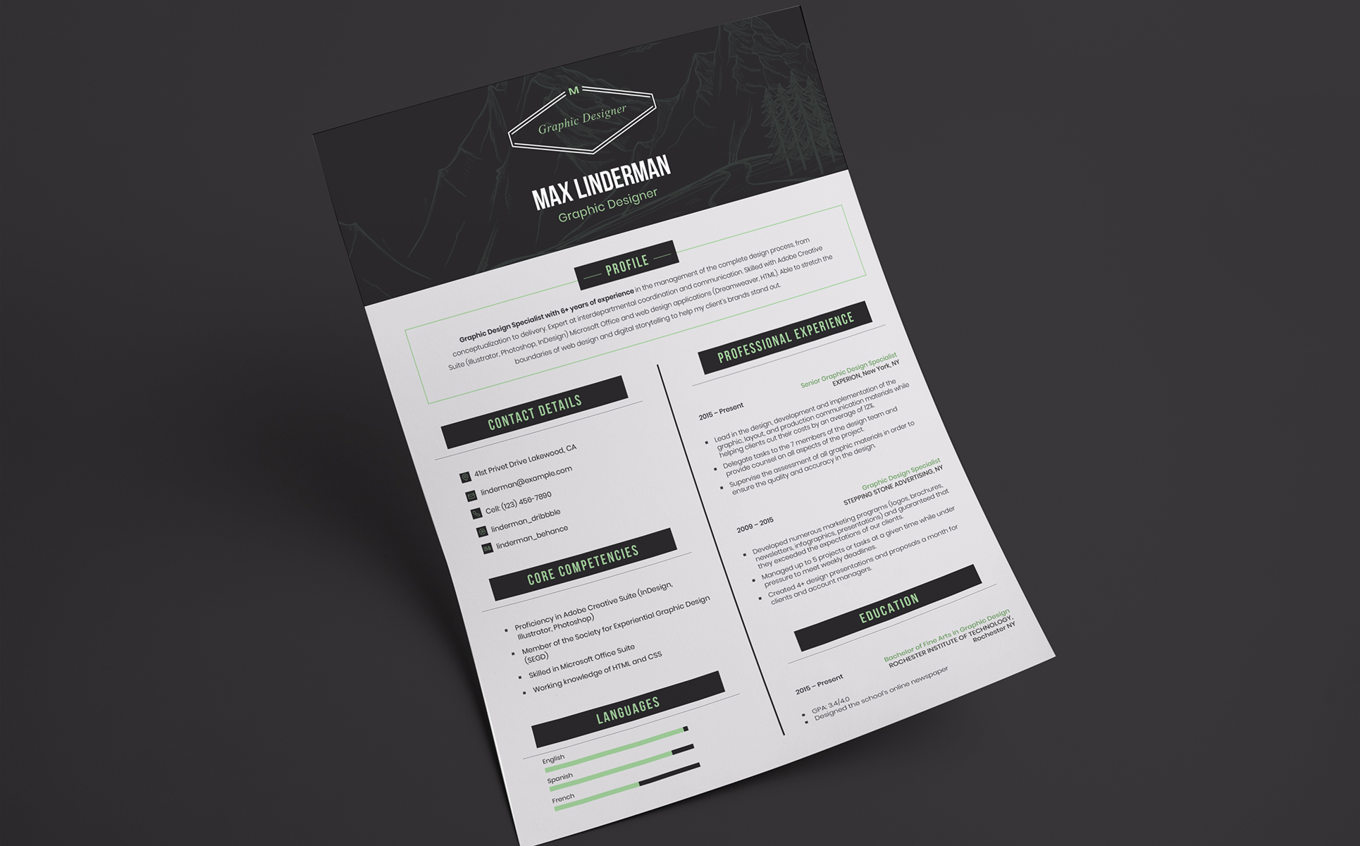 Plantilla de CV #66455 para Sitio de Diseño Web