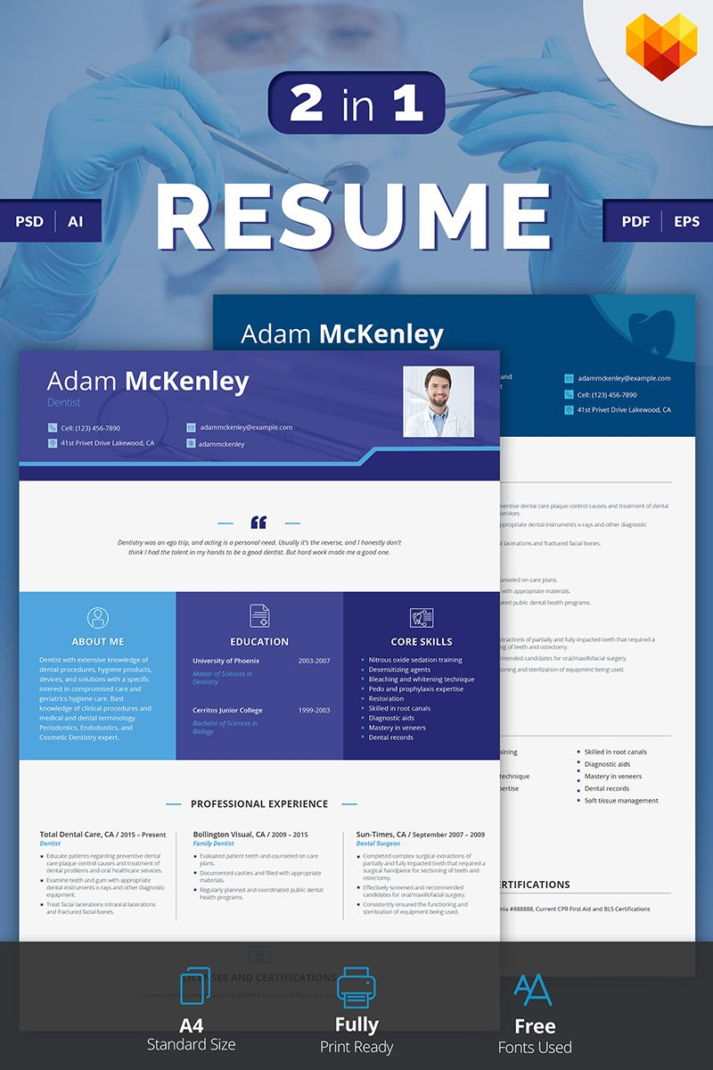 adam mckenley dentist resume template 66433