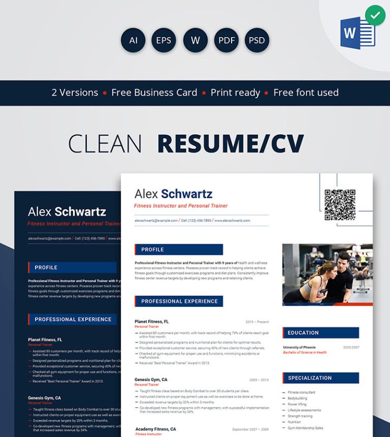 Alex Schwartz Fitness Instructor Resume Template 66443