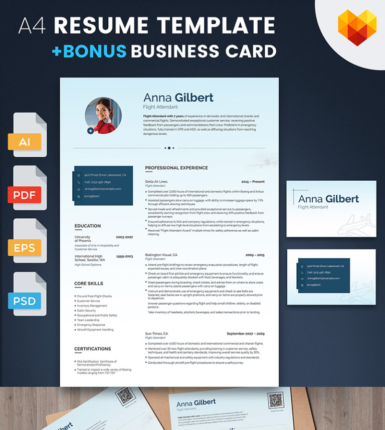 anna gilbert flight attendant resume template big screenshot