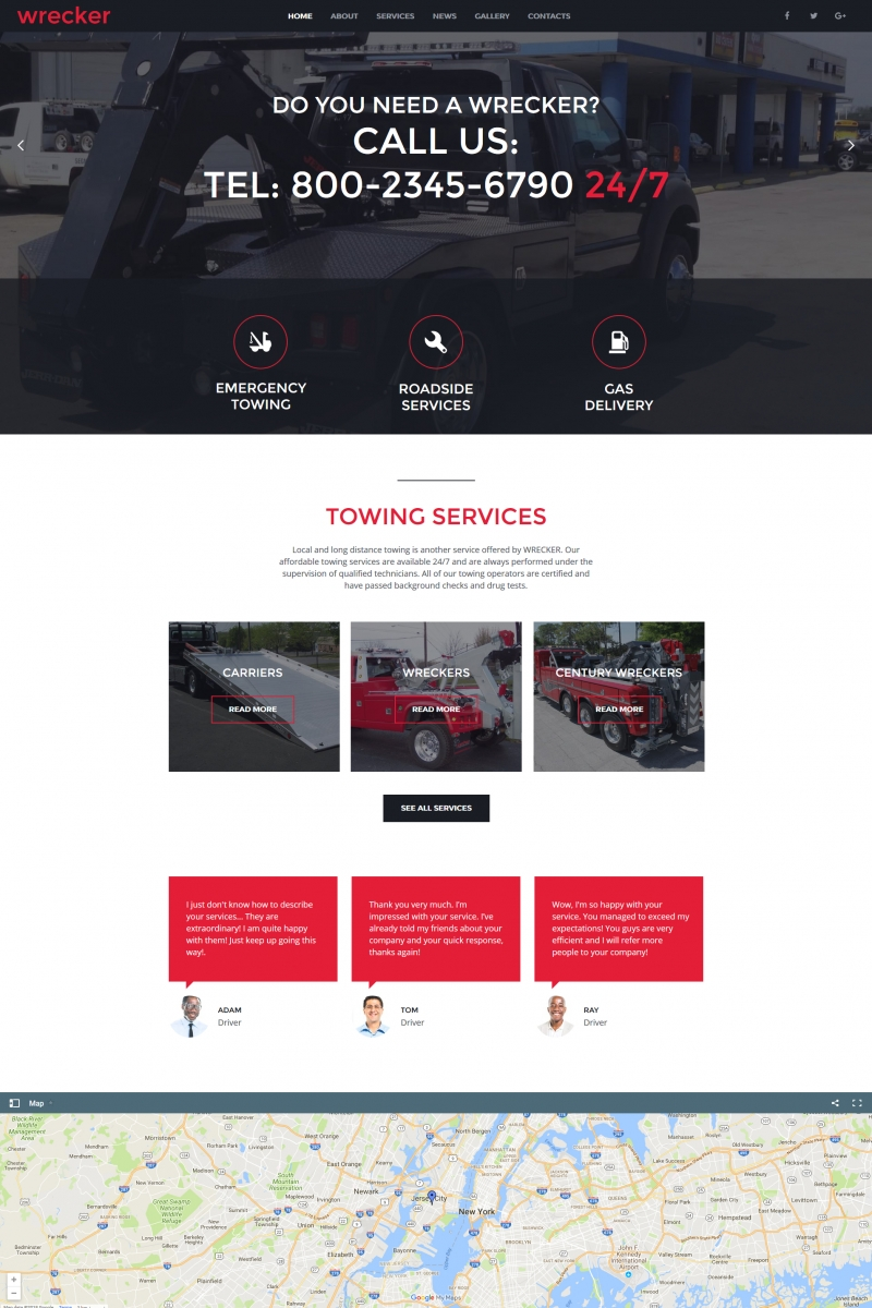 Auto Towing & Roadside Services Moto Cms Html #66425