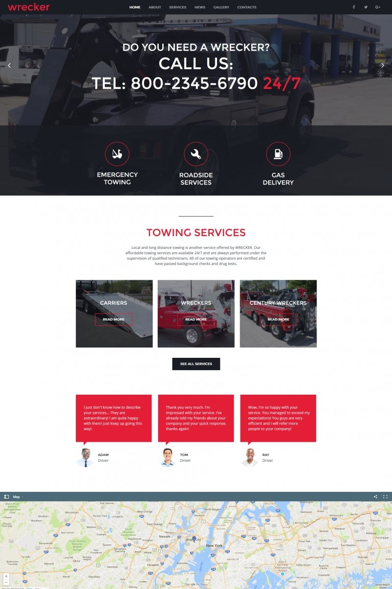 Auto Towing & Roadside Services Moto CMS HTML Template