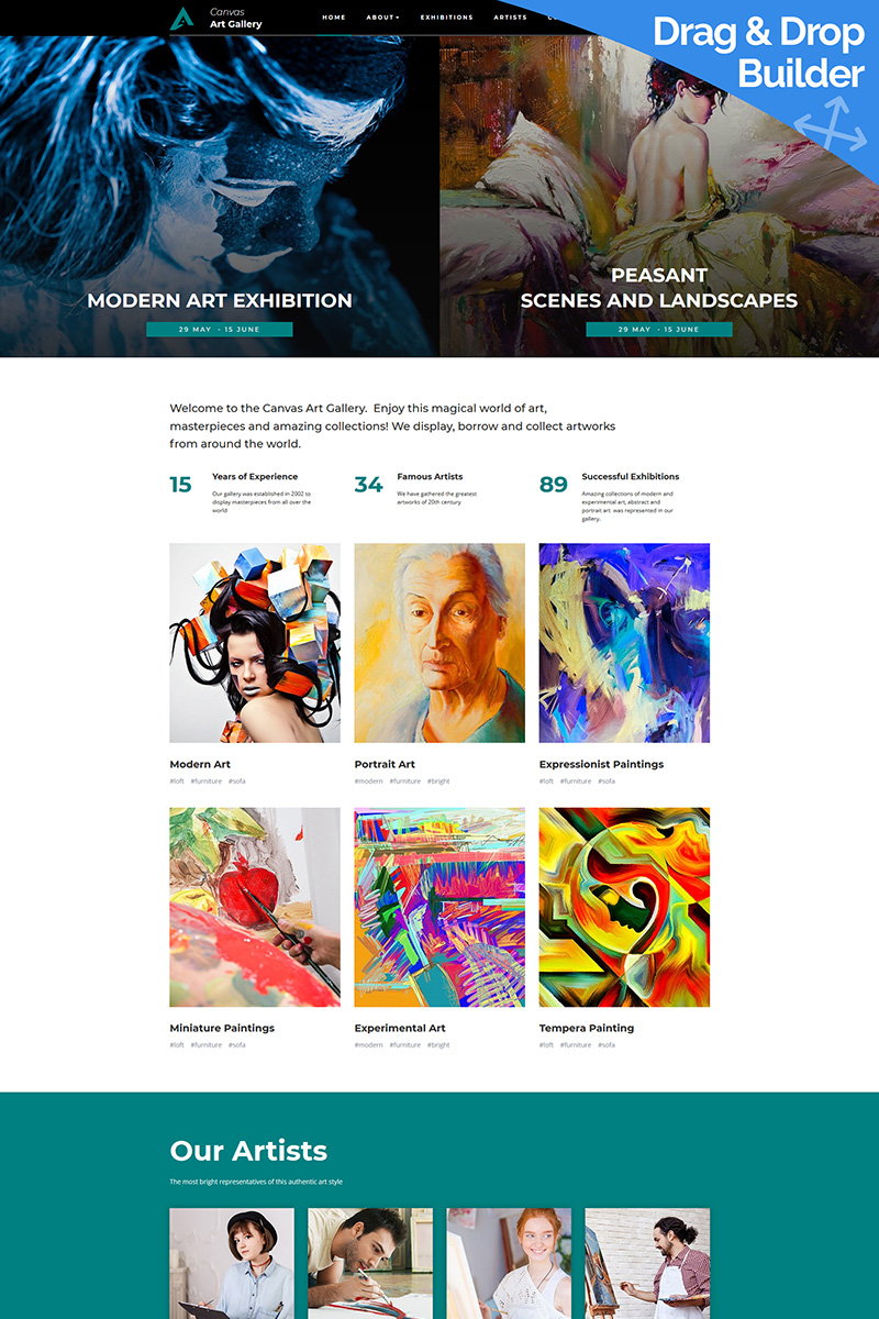 Canvas - Creative Art Gallery Moto CMS 3 Template