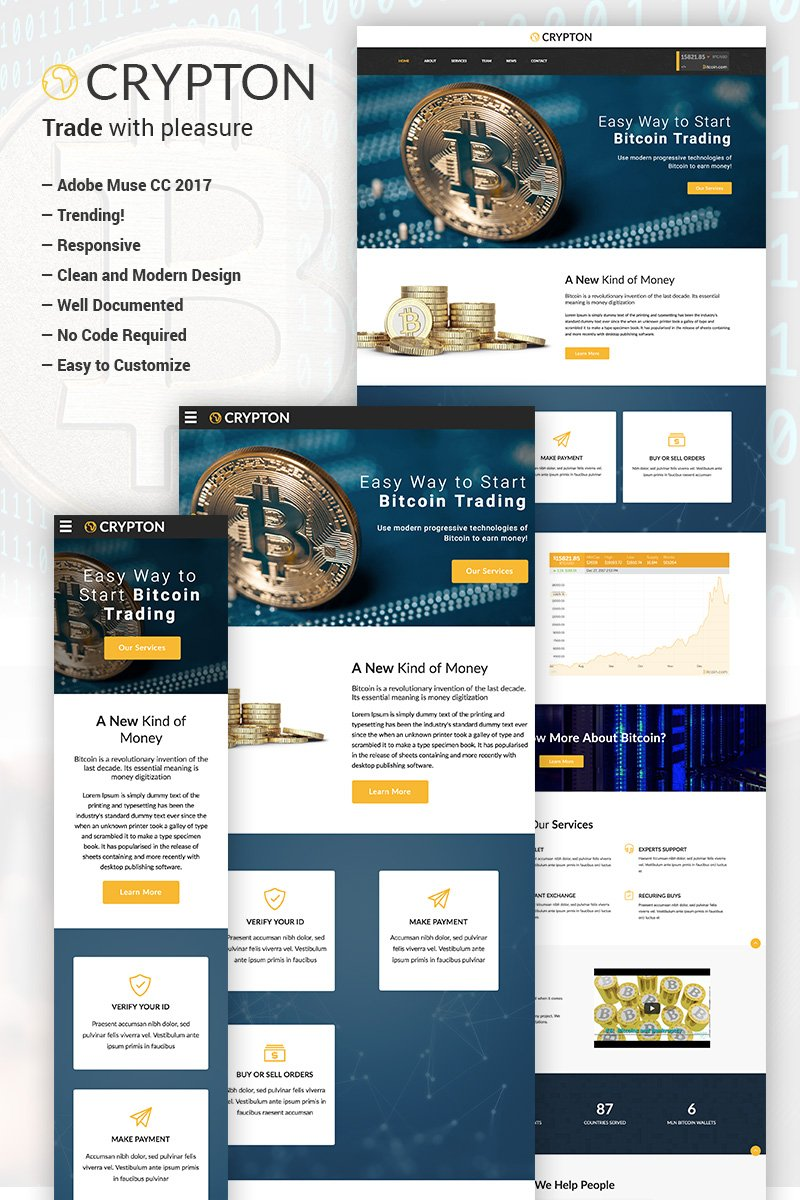 """""""Crypton - Bitcoin and Cryptocurrency"""" Responsive Muse Template №66473"""