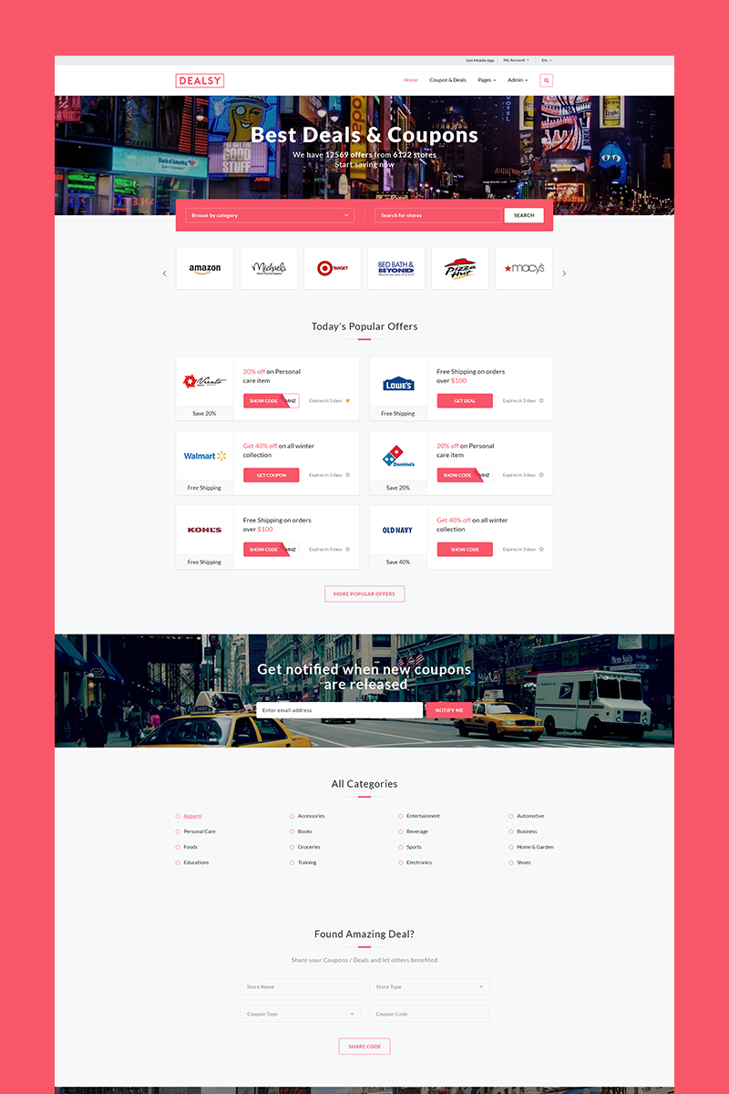 Dealsy - Deals & Coupons Theme + Admin Website Template - screenshot