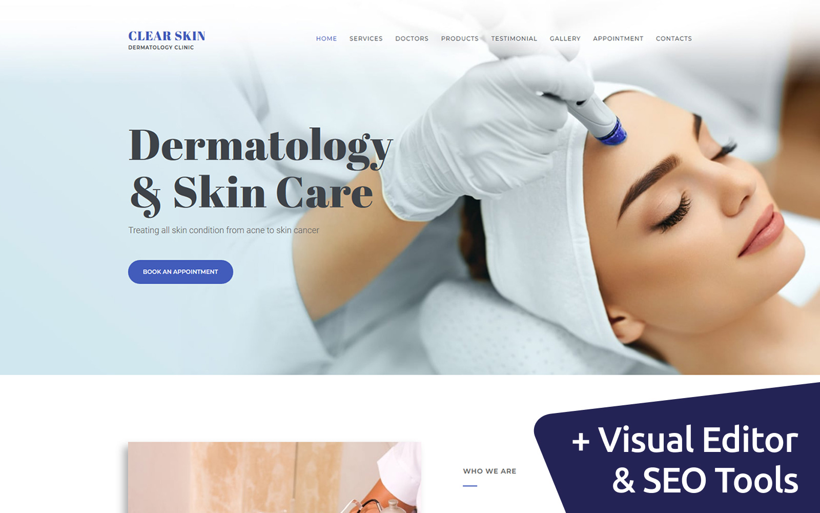 """Dermatologist Clinic"" 响应式Moto CMS 3 模板 #66410"