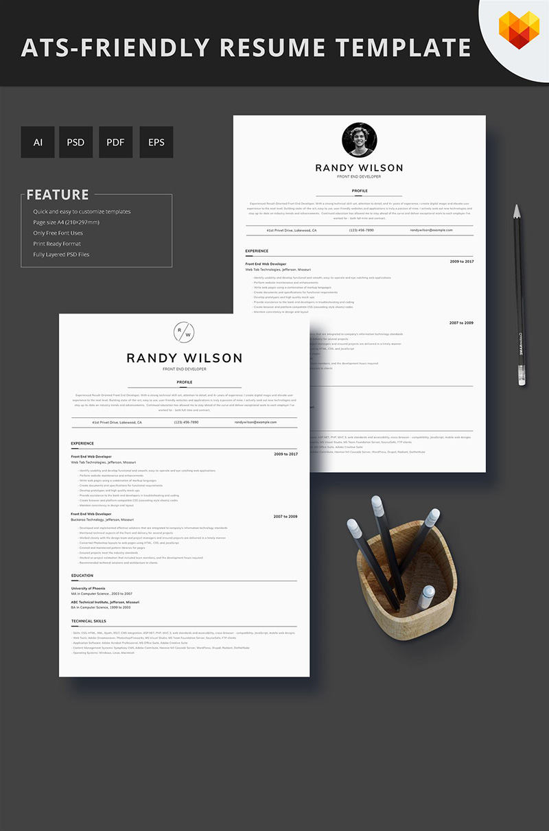 Front End Developer ATS Friendly Resume Template