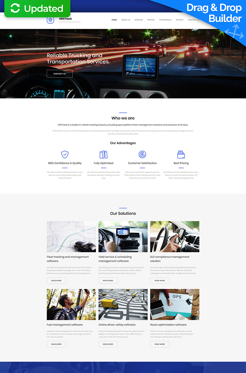"""GPS Tracking Premium"" Responsive Moto CMS 3 Template №66400"