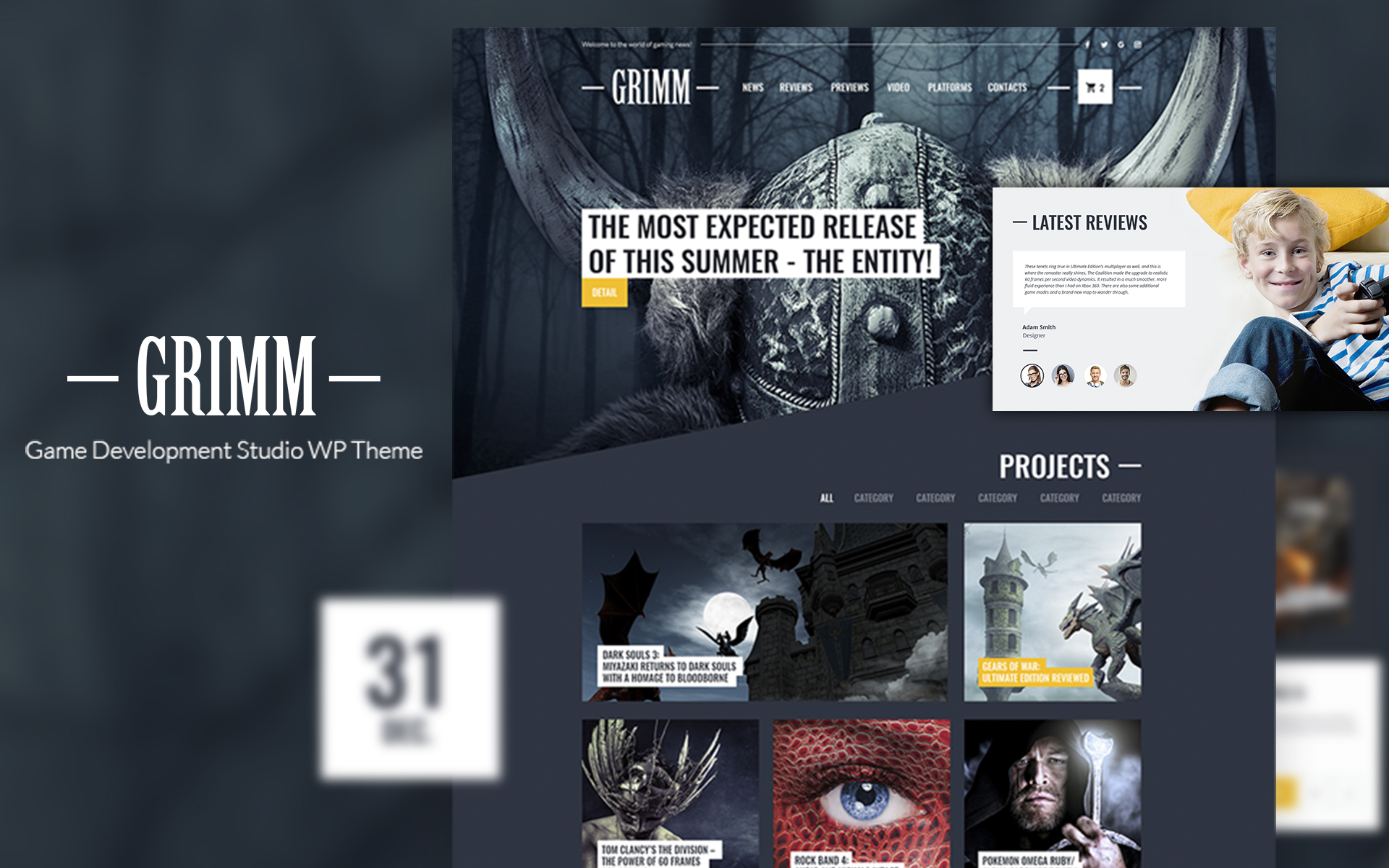 GRIMM lite - Game Development Studio WordPress Theme - screenshot