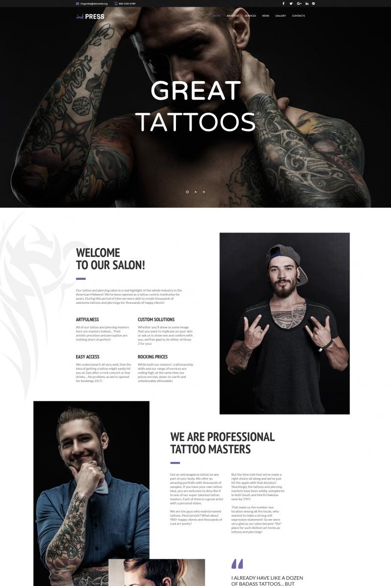 """""""InkPress - Salon de tatouage"""" modèle Moto CMS HTML  #66420"""
