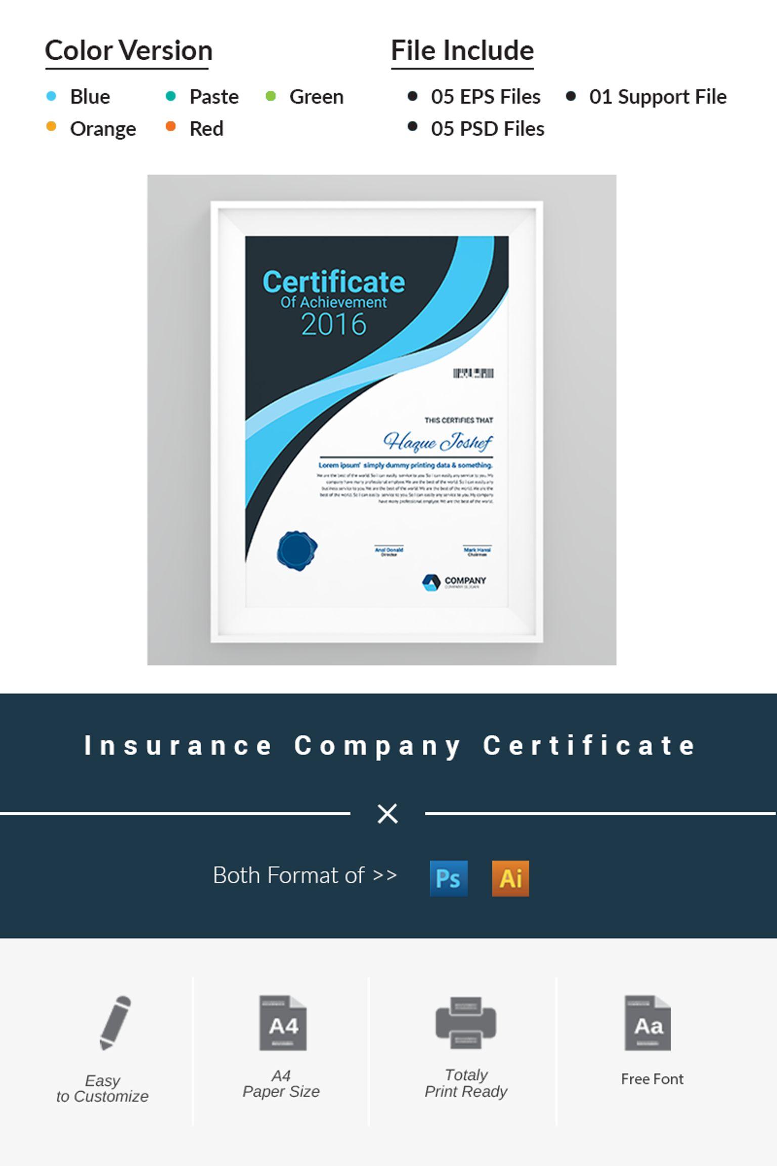 Insurance Company Certificate Template 66464