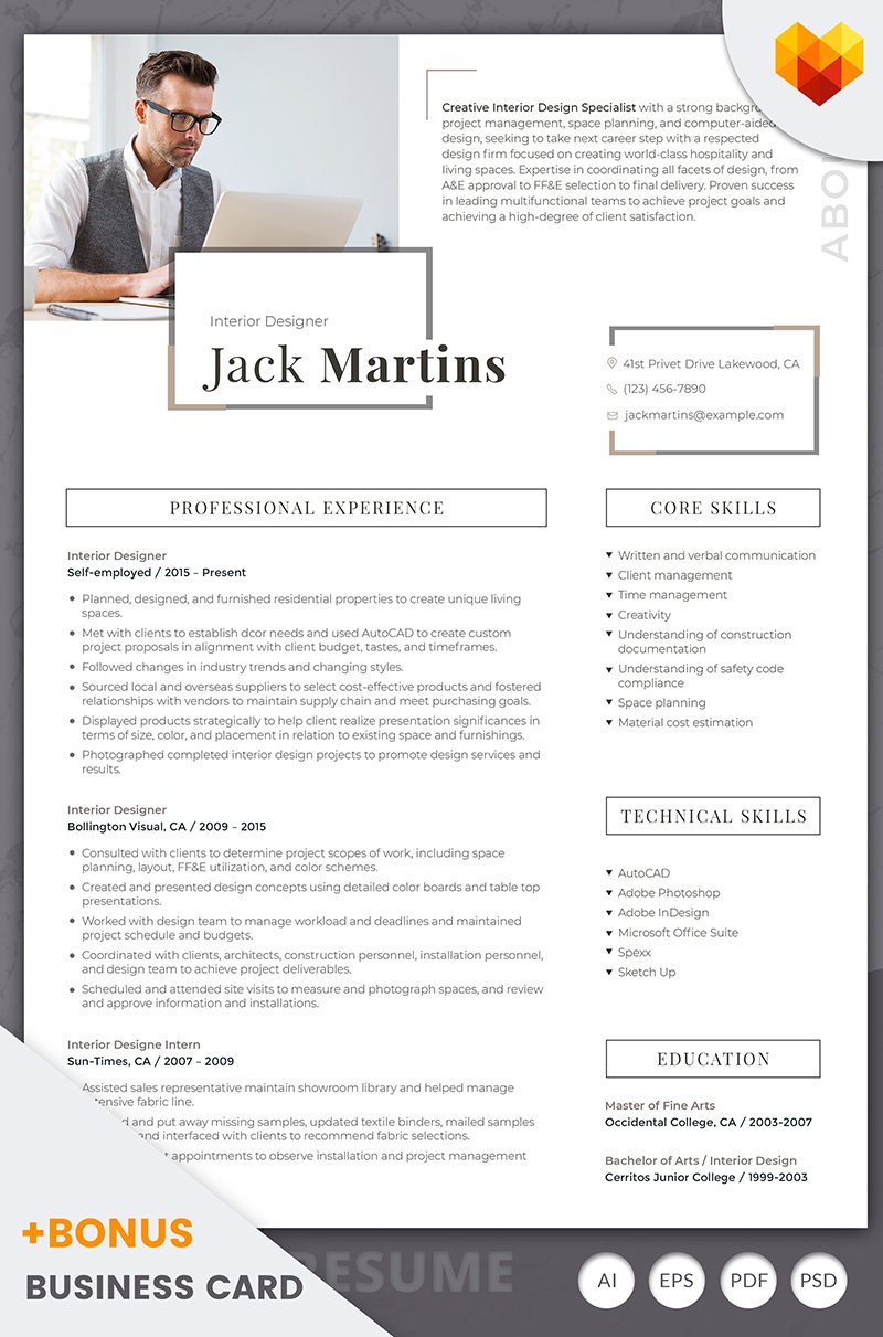 Jack Martins  Interior Designer Resume Template