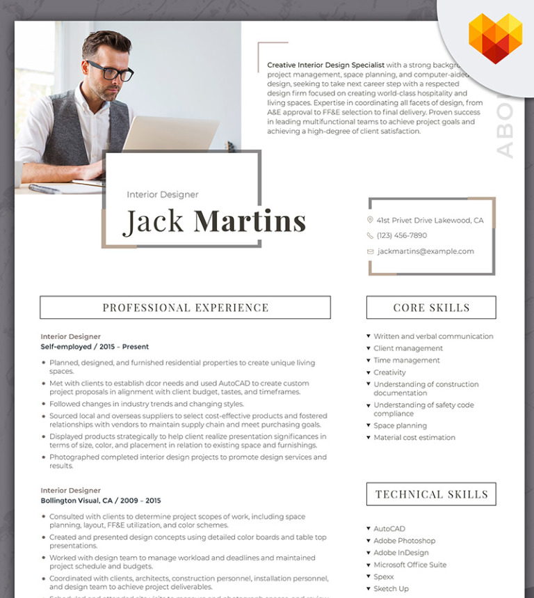 Jack Martins Interior Designer Resume Template 66437
