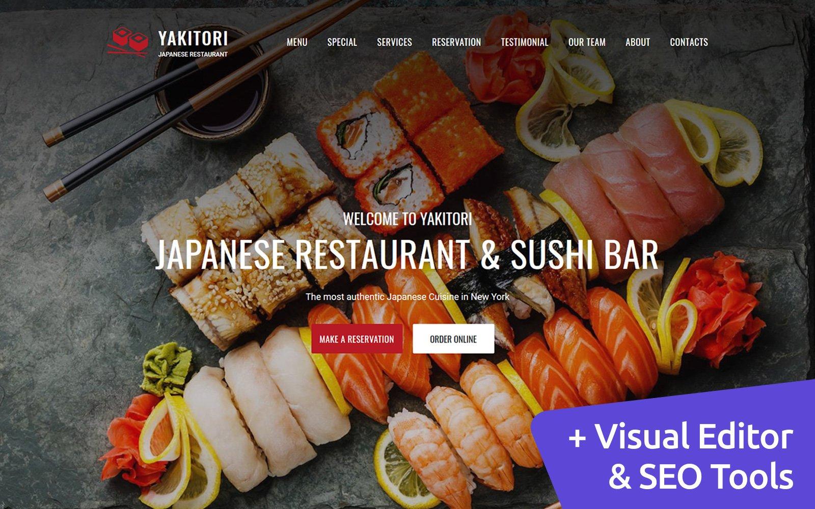 """Japanese & Sushi Restaurant"" 响应式Moto CMS 3 模板 #66414"