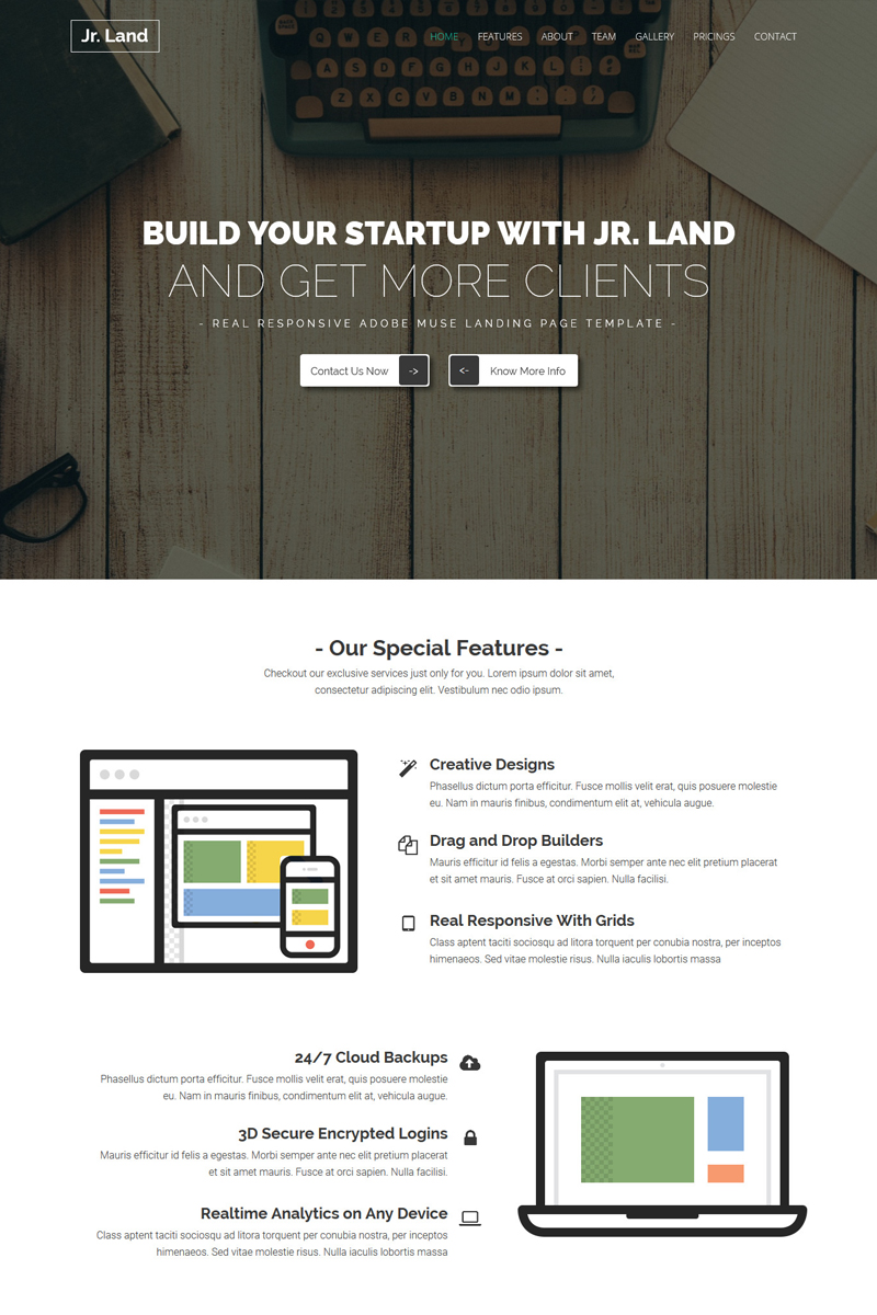 Jr.land - Responsive Landing Page Muse Template