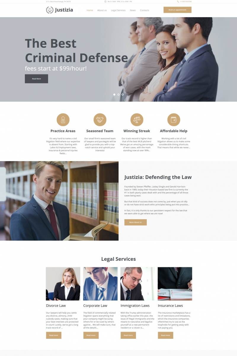 """Justizia - Lawyer Services"" Moto CMS HTML Template №66422"