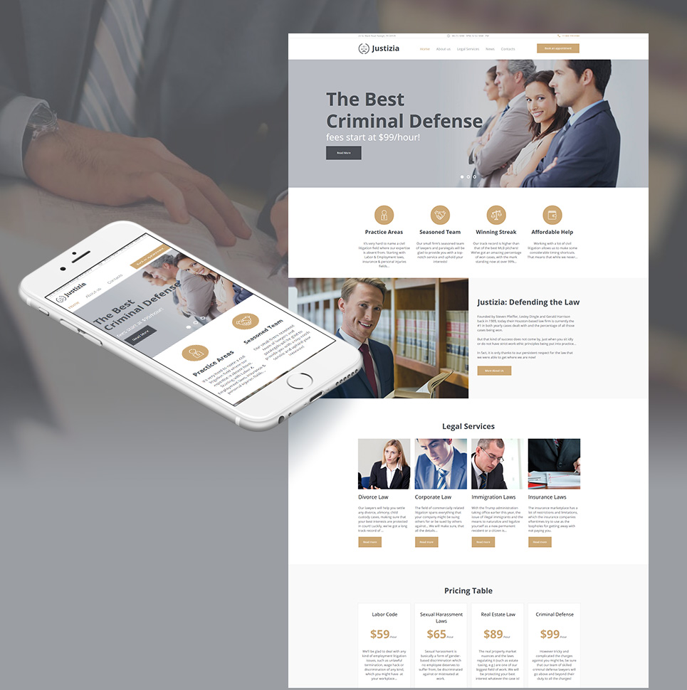 Justizia - Lawyer Services Moto CMS HTML Template #66422
