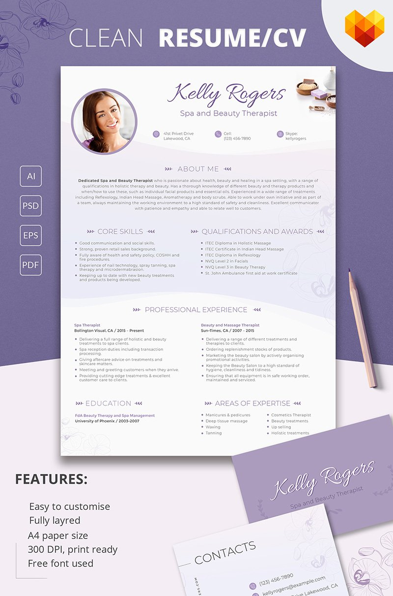 Kelly Ragers Spa And Beauty Therapist Resume Template 66434