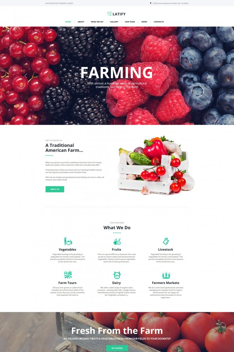 """Latify - Private Farm"" Moto CMS HTML Template №66426"