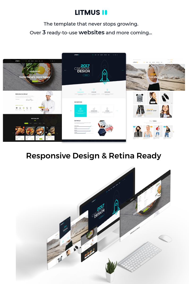 """Litmus - Clean & Creative Multipurpose"" Responsive PSD Template №66463"