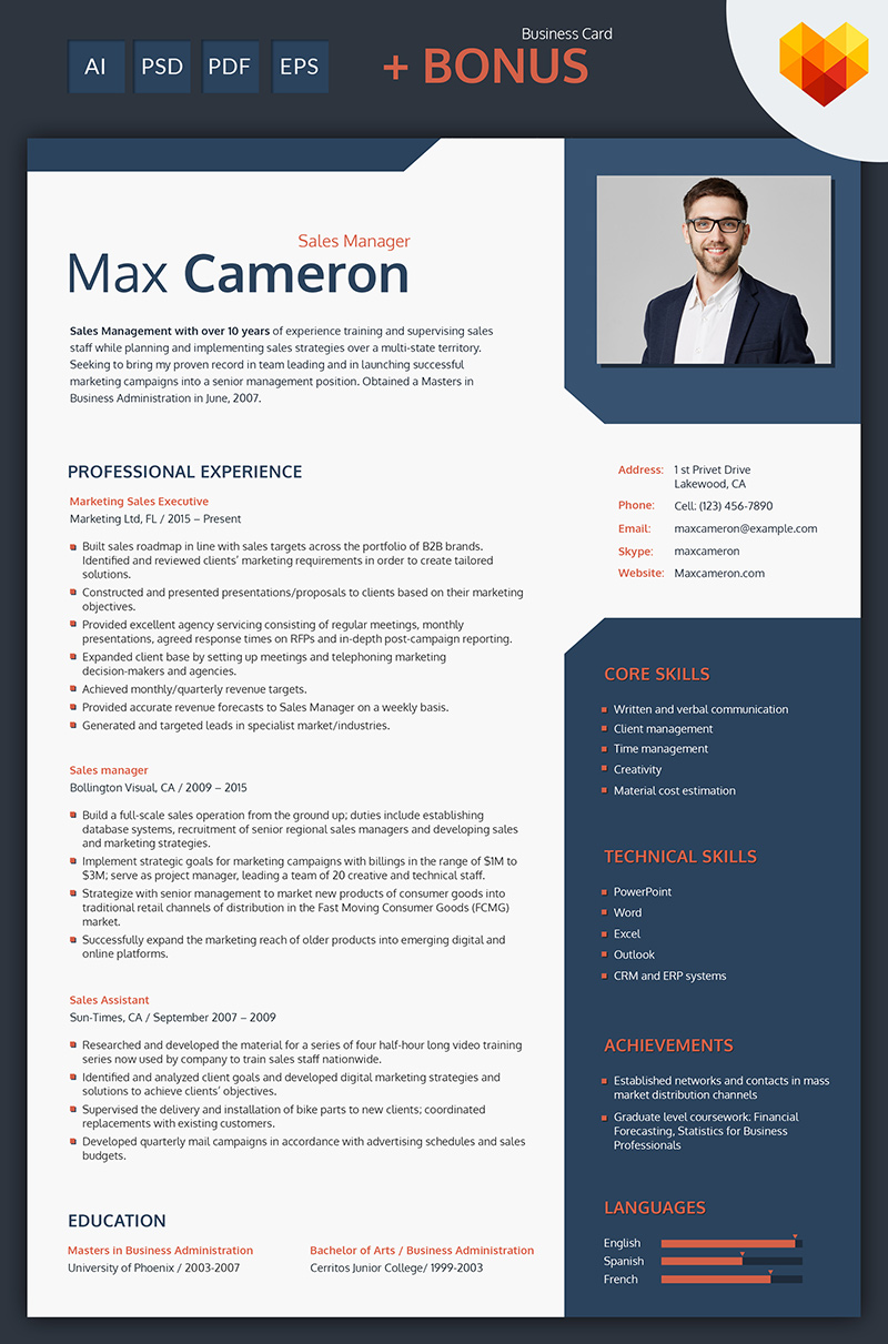Max Cameron   Sales Manager Resume Template Big Screenshot