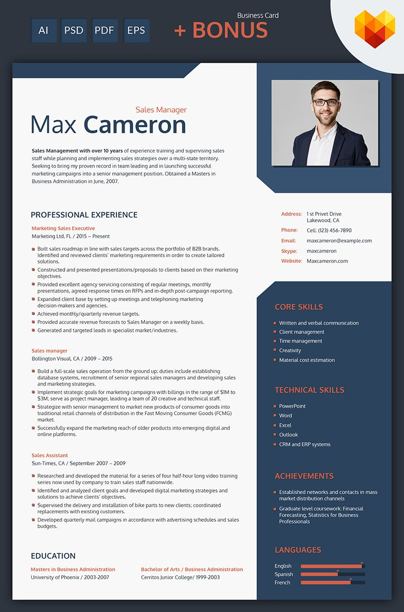 Max Cameron - Sales Manager Resume Template #66438