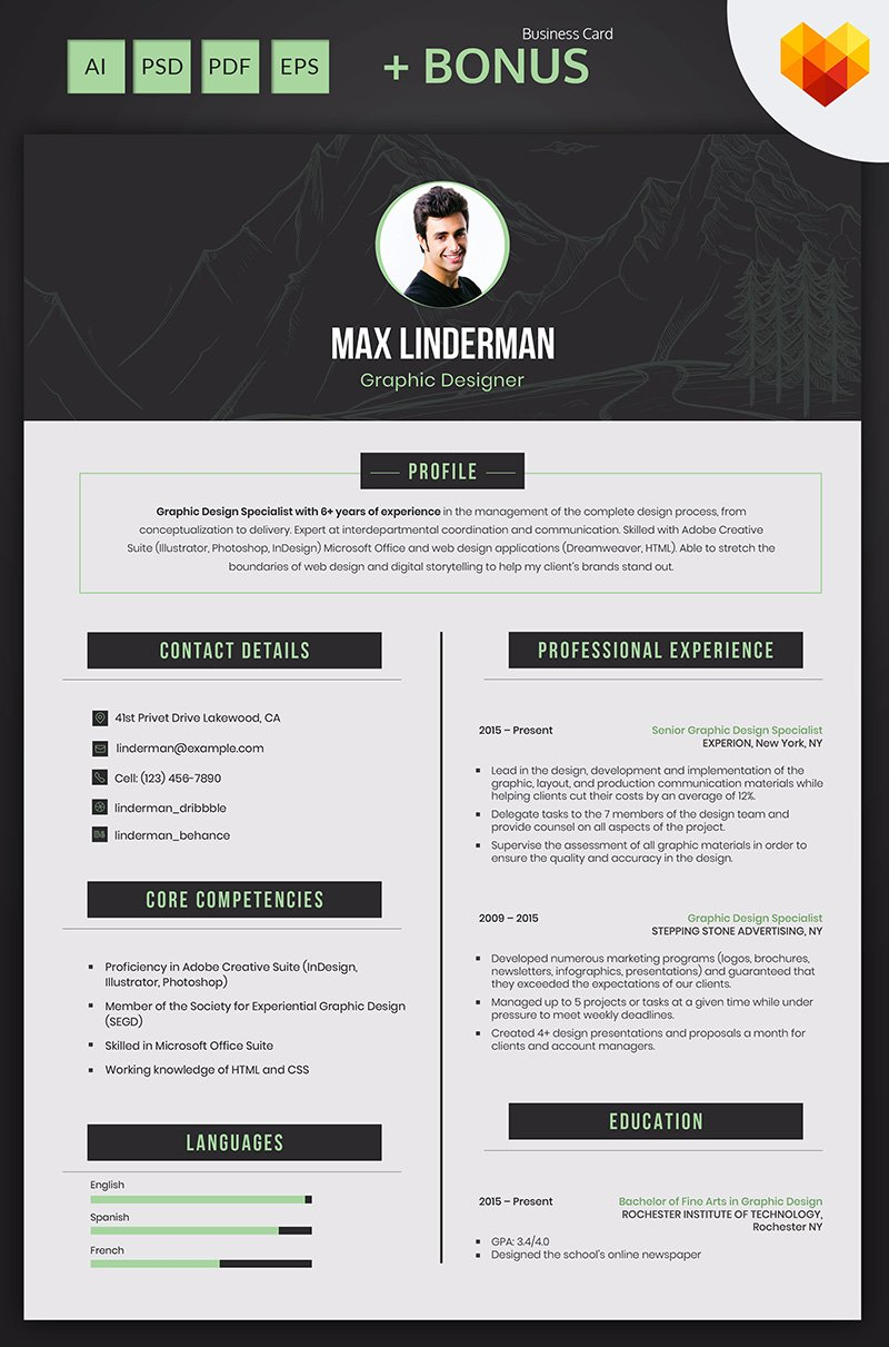 Max Linderman  Graphic Designer Resume Template