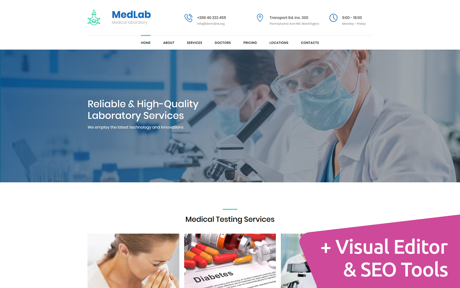 """Medical Laboratory Premium"" Responsive Moto CMS 3 Template №66403"