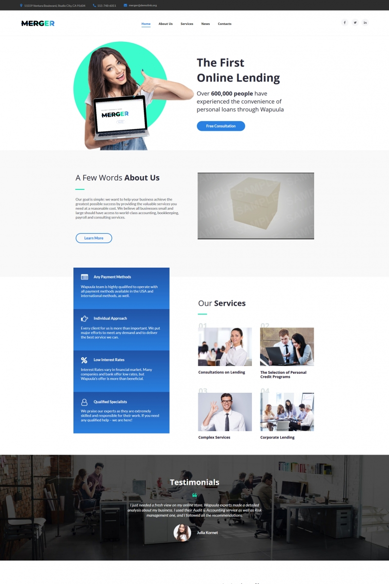 """Merger - Business & Finance Responsive"" Moto CMS HTML Template №66431"