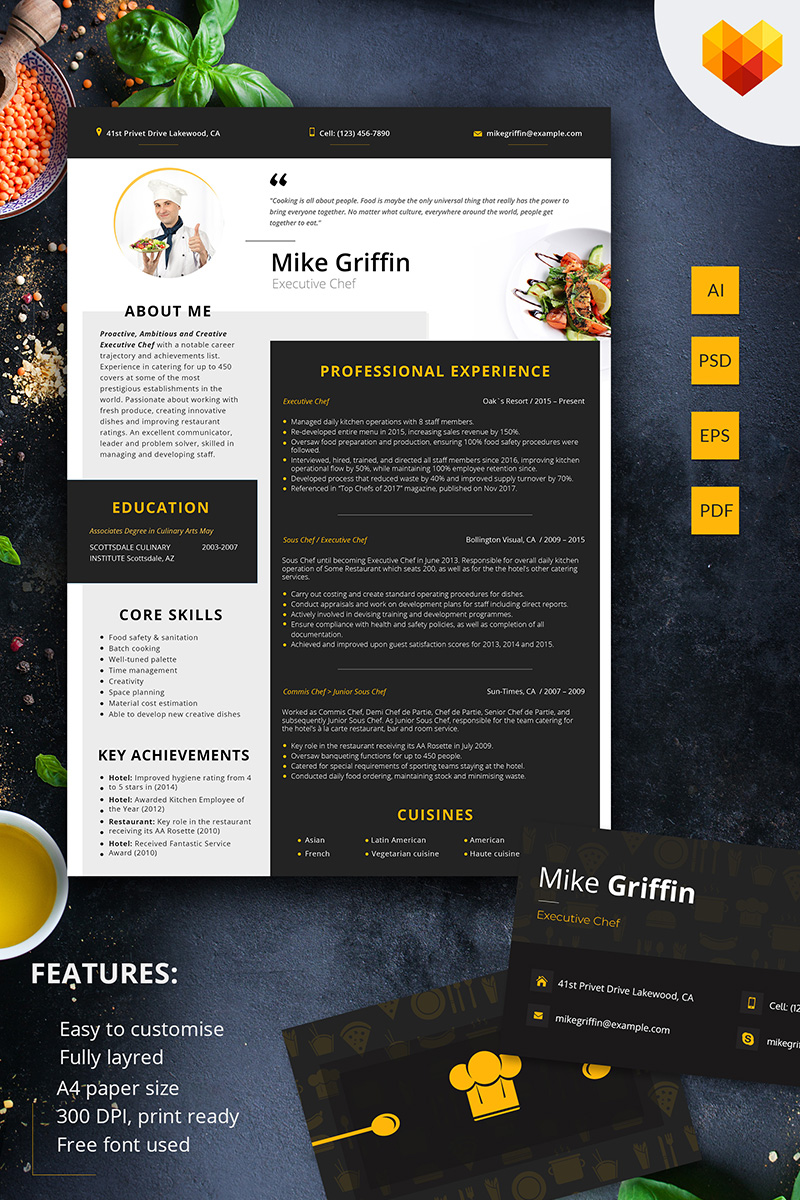 Mike Griffin Executive Chef Resume Template