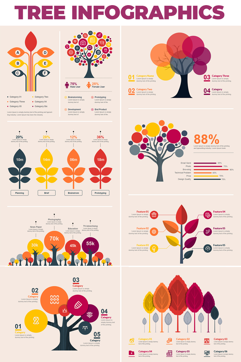 "Modello Elementi infografici #66482 ""Tree Bundle -"""