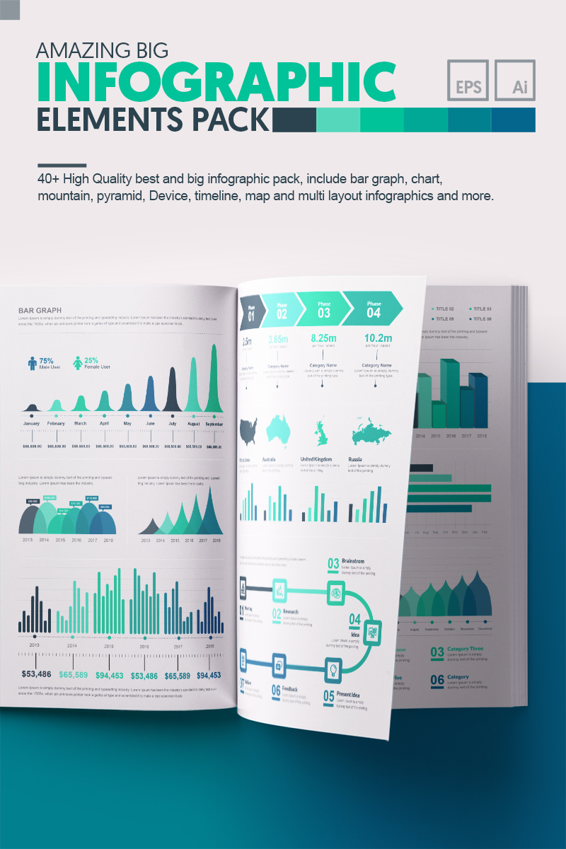 """Modello Elementi infografici #66497 """"Amazing Big Bundle"""""""