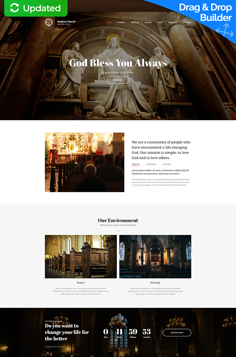 "Moto CMS 3 Template namens ""Churches and Religion"" #66416"