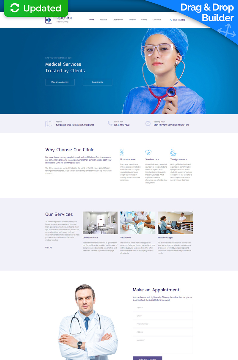 "Moto CMS 3 Template namens ""Healthan - Medical Premium"" #66408"