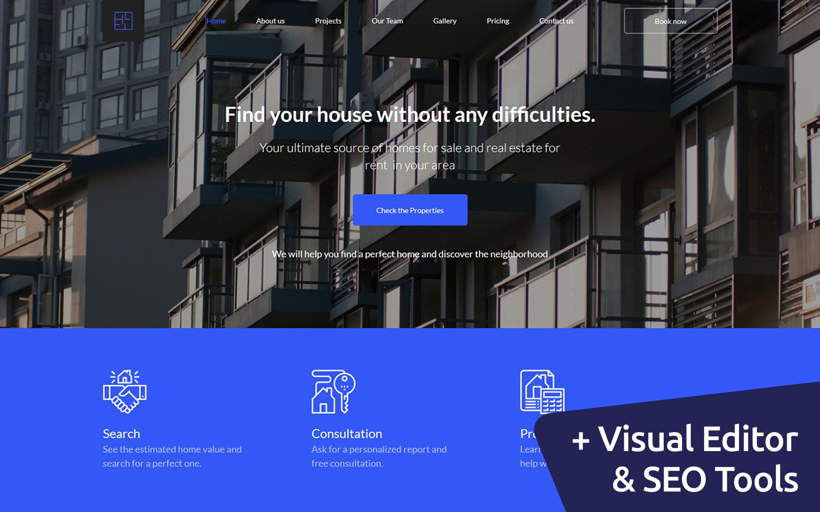 "Moto CMS 3 Template namens ""Ingense - Real Estate"" #66411"