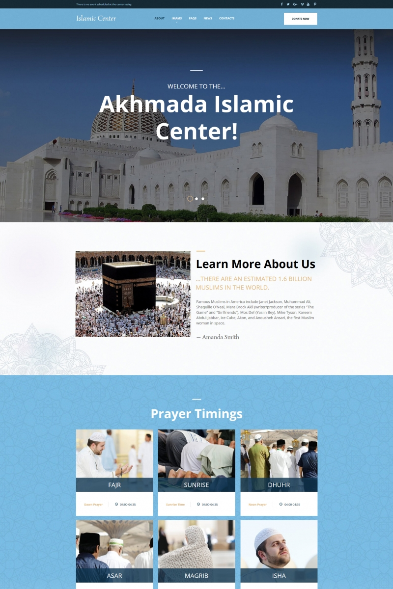 "Moto CMS HTML šablona ""Akhmada - Islamic Center"" #66417"