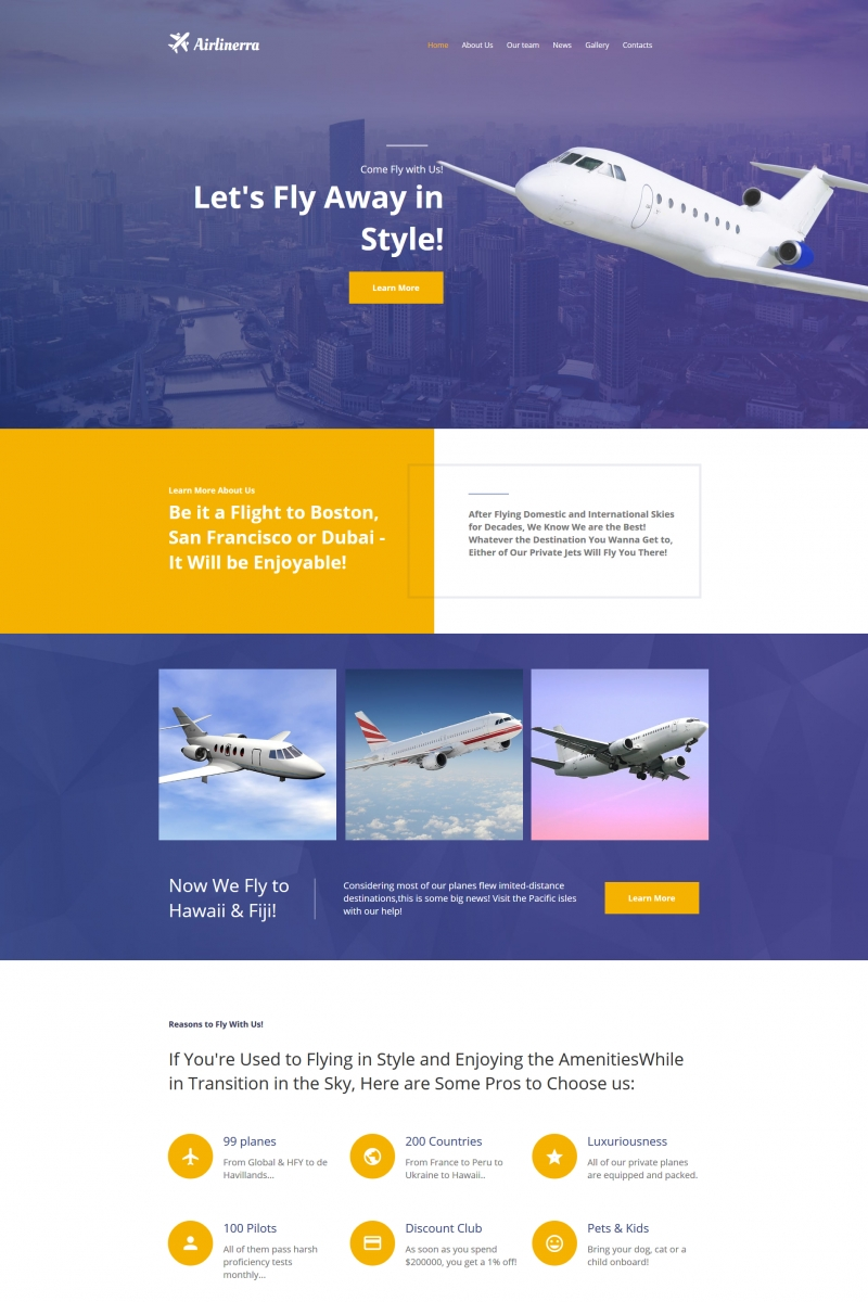 "Moto CMS HTML Vorlage namens ""Airlinerra - Private Airline Company"" #66418"