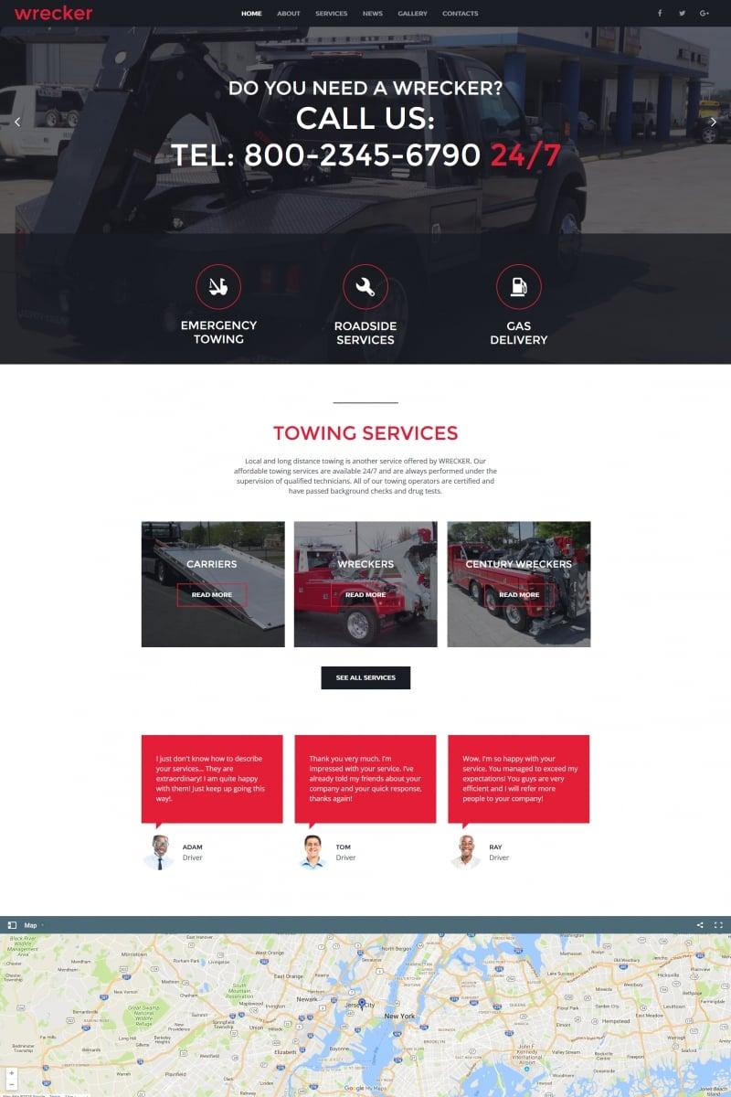 "Moto CMS HTML Vorlage namens ""Auto Towing & Roadside Services"" #66425"