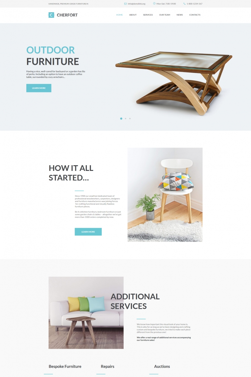 "Moto CMS HTML Vorlage namens ""Cherfort - Furniture Company"" #66423"