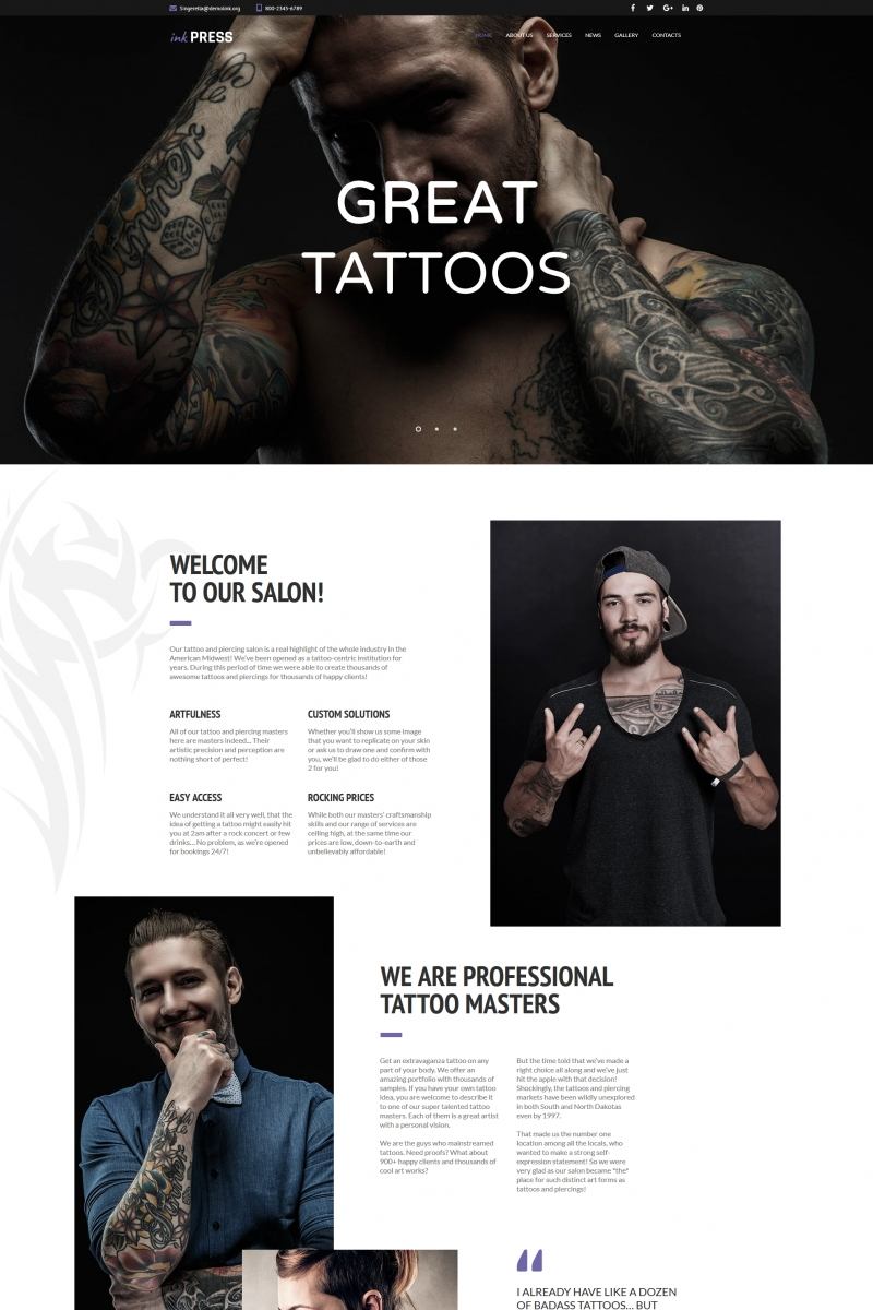 "Moto CMS HTML Vorlage namens ""InkPress - Tattoo Salon"" #66420"